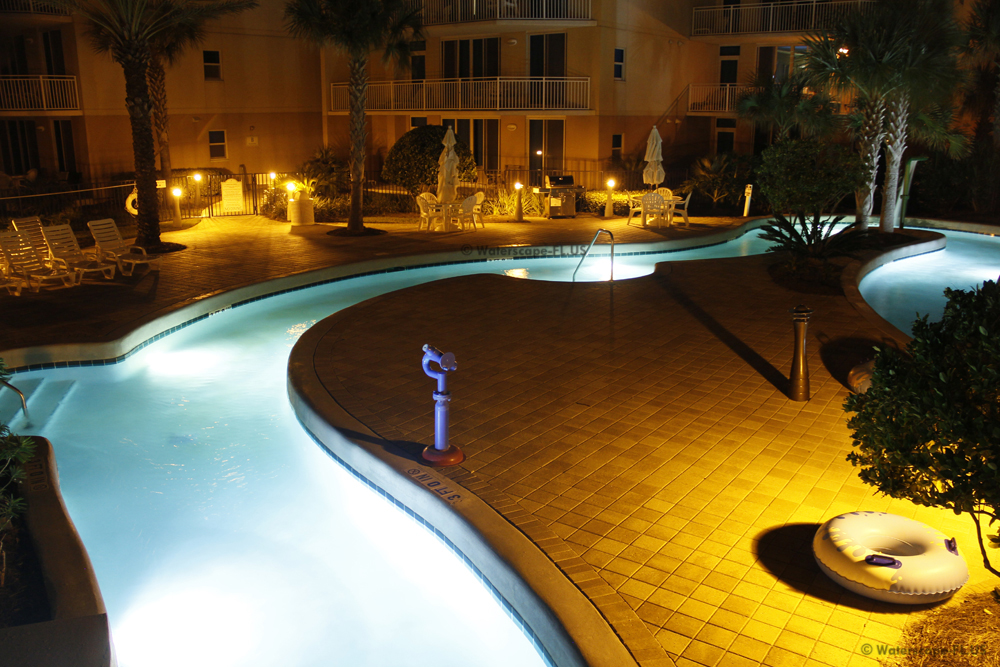 Waterscape Resort Lazy River at night
